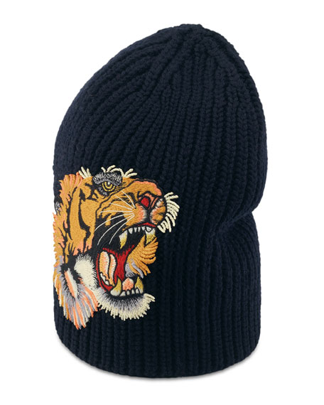 Gucci Wool Beanie Hat W/Tiger Patch, Navy, Black Wool