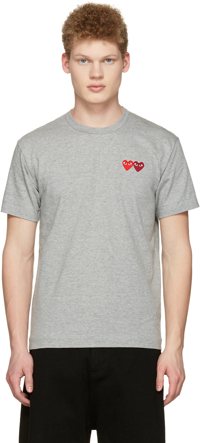 COMME DES GARÇONS PLAY Comme Des Garcons Play Grey And Red Double Heart T-Shirt
