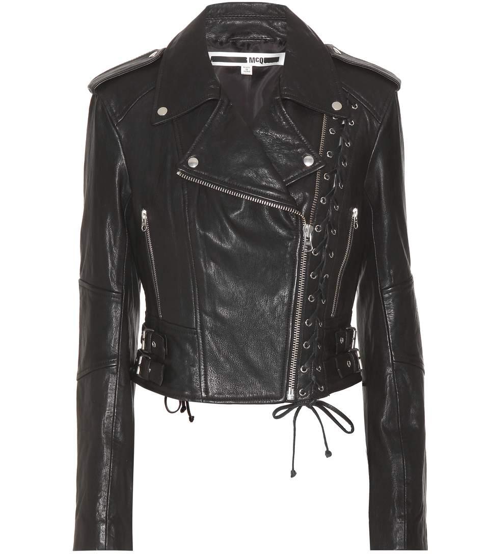 Mcq Alexander Mcqueen - Eyelet Biker Jacket  in Black