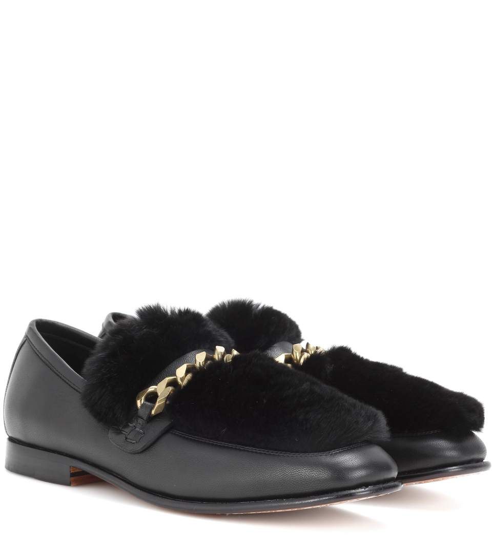 Loafur Leather And Fur Loafers, Llack