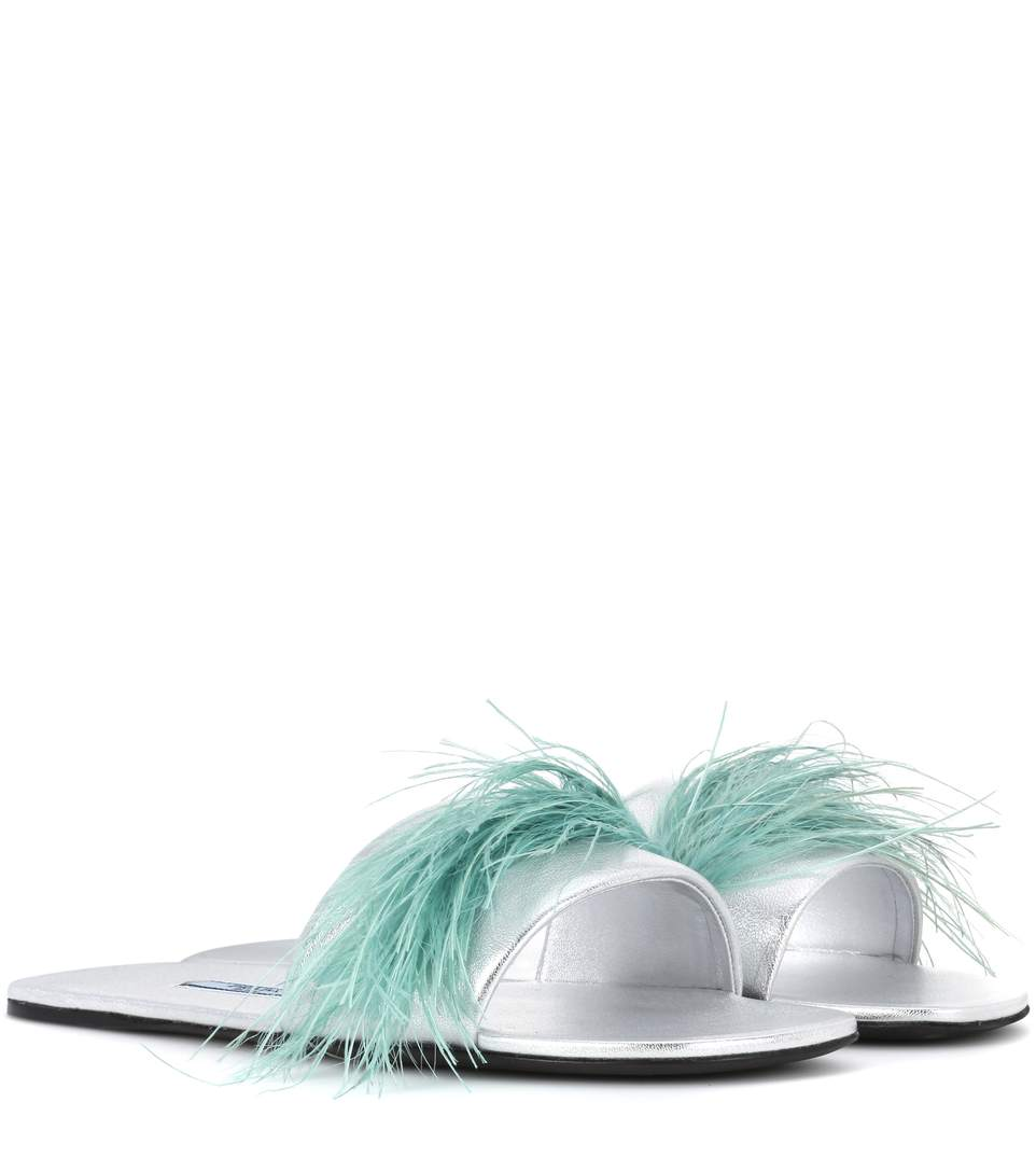 Feather-Embellished Metallic Textured-Leather Slides in Silver