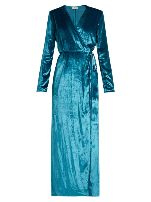 Blue 'Racquel' Velvet Wrap Dress, Additional Details Will Be Added When The Item Arrives In Stock