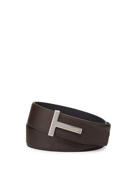TOM FORD MEN'S LEATHER T-BUCKLE BELT, BROWN, BROWN/BLACK