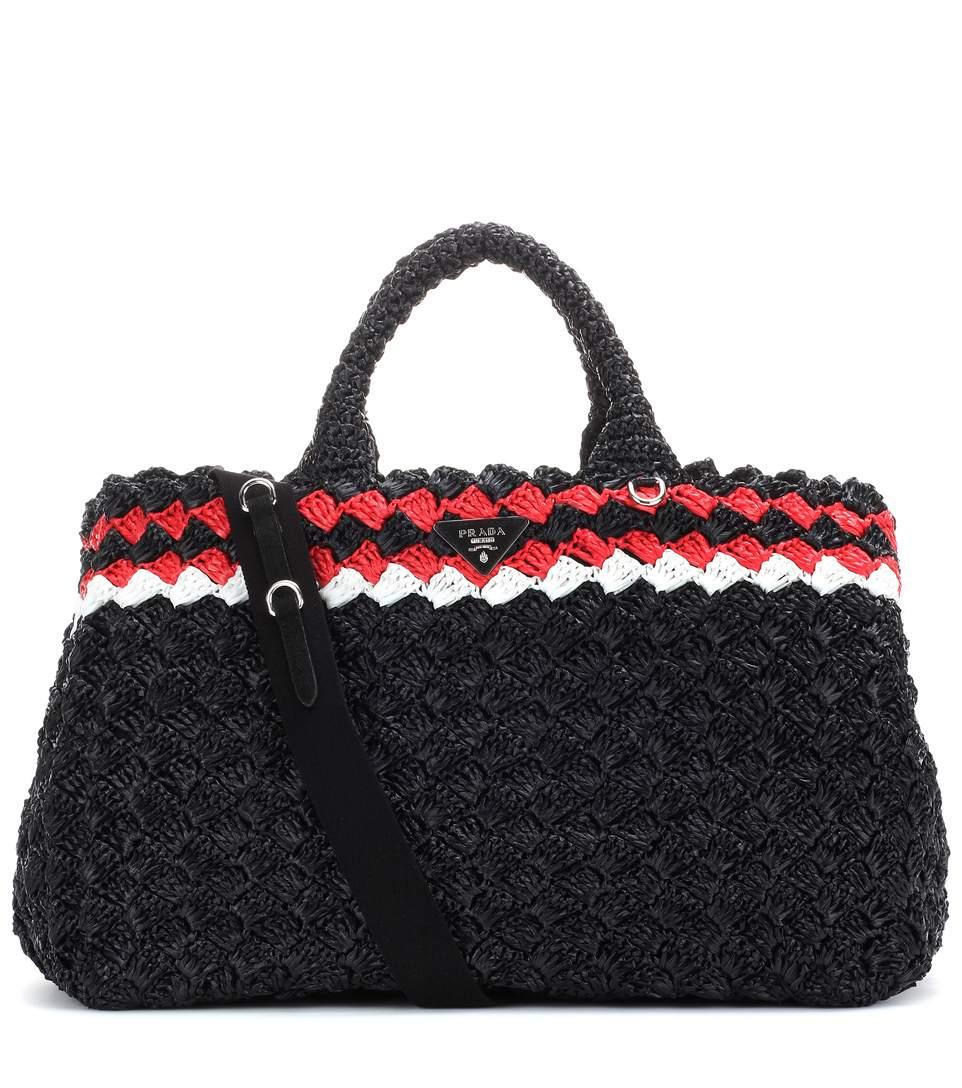 Prada Crocheted Raffia Top-Handle Bag W/Strap, Black (Nero), Black/Red