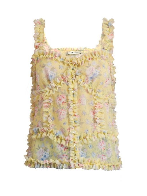 Attico Woman Ana Ruffled Floral-print Silk-chiffon Camisole Pastel Yellow Size IV Attico Where To Buy Buy Online Cheapest Price Online 0ZksA