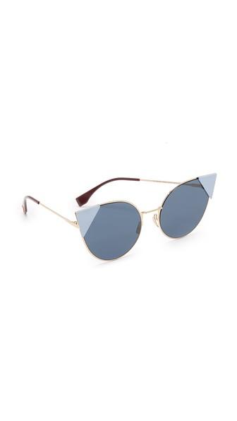 Fendi 55Mm Round Cat'S-Eye Sunglasses, Rose Gold Blue/Blue
