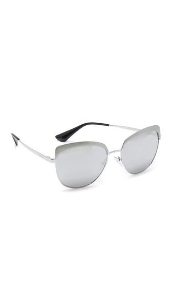 PRADA Cat-Eye Silver-Tone Mirrored Sunglasses in Silver/Gray Metal Mirror