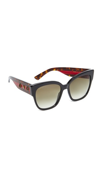 GUCCI SPECIAL EDITION OVERSIZED SQUARE SUNGLASSES, BLACK/TORTOISE/RED, BLACK/ GREEN