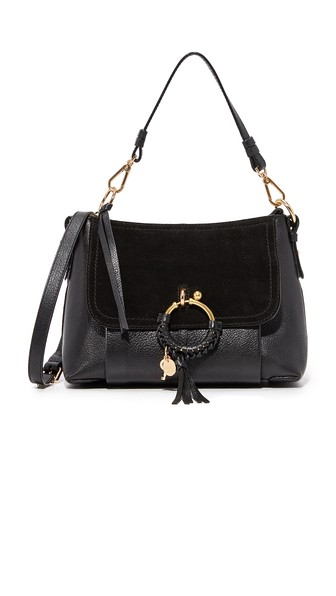 Joan Small Textured-Leather And Suede Shoulder Bag, Black