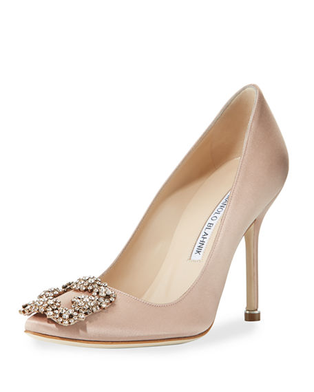 Hangisi Crystal-Buckle Satin 105Mm Pump, Flesh