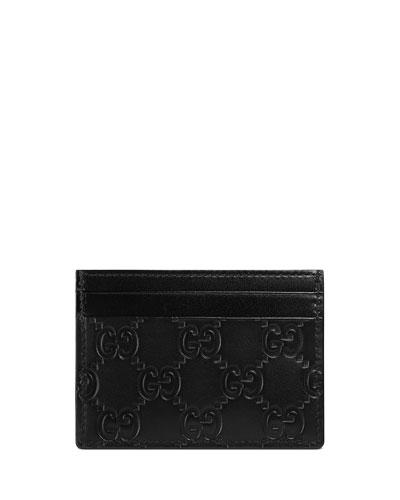 Signature Leather Card Case, Black