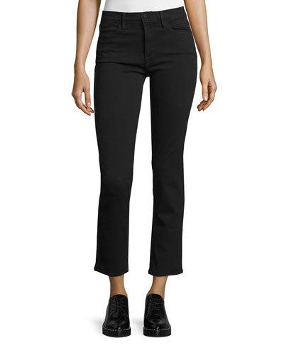 Le High Straight-Leg Cropped Jeans, Film Noir, Black