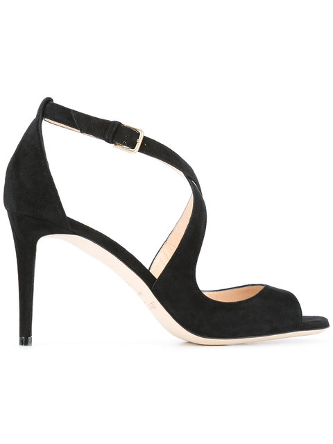 Emily 85 Suede Heeled Sandals in Black