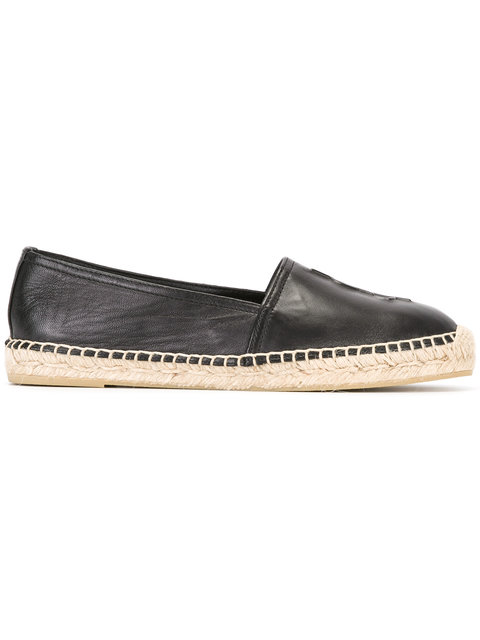 Logo-Embossed Textured-Leather Espadrilles, Black