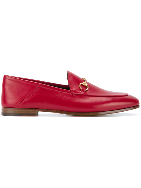Brixton Horsebit-Detailed Leather Collapsible-Heel Loafers in Red