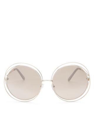 Women'S Carlina Round Oversized Sunglasses, 62Mm in Gold