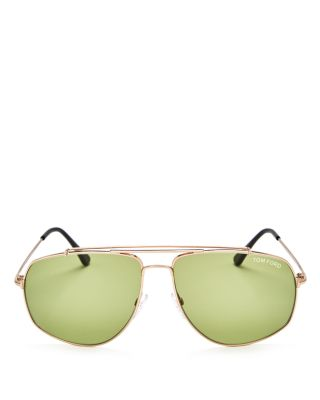 TOM FORD Aviator Sunglasses, 59Mm in Rose Gold/Green Solid
