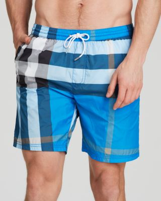 dad3a53f53018 BURBERRY MID-LENGTH CHECK SWIM TRUNKS, CERULEAN BLUE