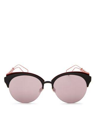 Ama Club Metal Sunglasses, Matte Black/Coral Gray