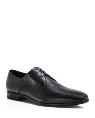 Men'S Fortunato Textured Leather Lace Up Derbys, Black