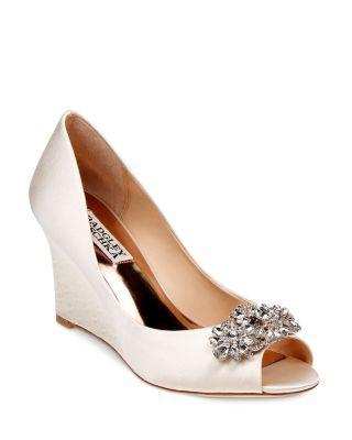 'Dara' Crystal-Encrusted Peep-Toe Wedge (Women), Ivory