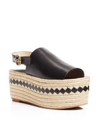 48590d6a92e4f TORY BURCH Dandy Black Veg Leather Wedge Espadrille Sandal
