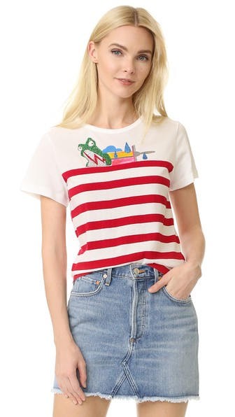 Printed Cotton T-Shirt With Embellishments in Red Multi