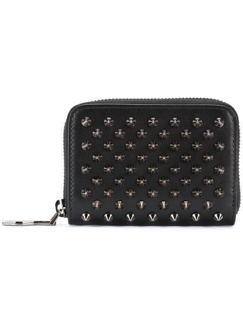 Panettone Spike-Embellished Leather Coin Purse in Black