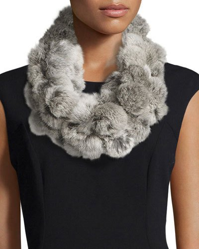 Rabbit Fur Pompom Infinity Scarf, Goma Gray, Neutral