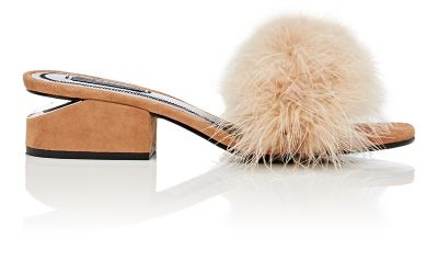 ALEXANDER WANG Lou Suede And Feather Slip-On Sandals in Clay