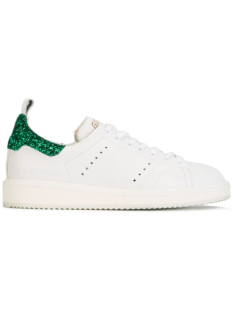 Starter Glitter-Trimmed Leather Sneakers in White