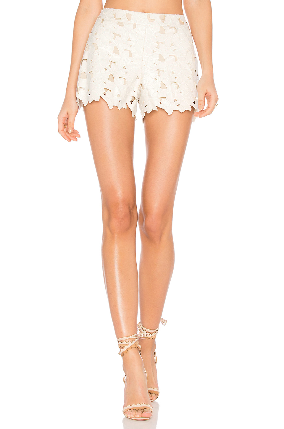For Nice Cheap Online Alice+olivia Woman Amaris Laser-cut Embroidered Faux Leather Shorts Ivory Size 10 Alice & Olivia Cheap Classic Discount Sale Online 8uYeQpO