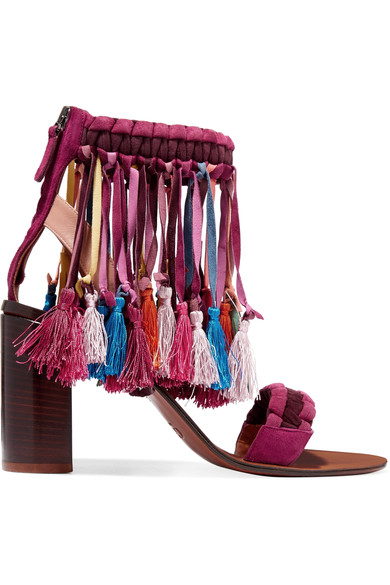 Tasseled Suede Sandals in Multicolour