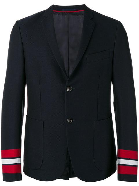 GUCCI STRIPED CUFF CAMBRIDGE BLAZER JACKET, BLUE
