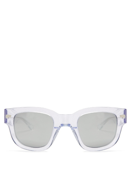 ACNE STUDIOS Square-Frame Mirrored Acetate Sunglasses in Colour: Clear