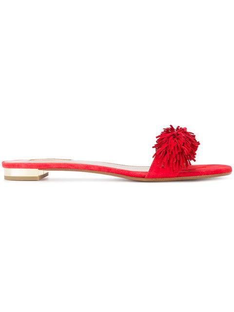 Aquazzura Red Wild Thing Suede Slides