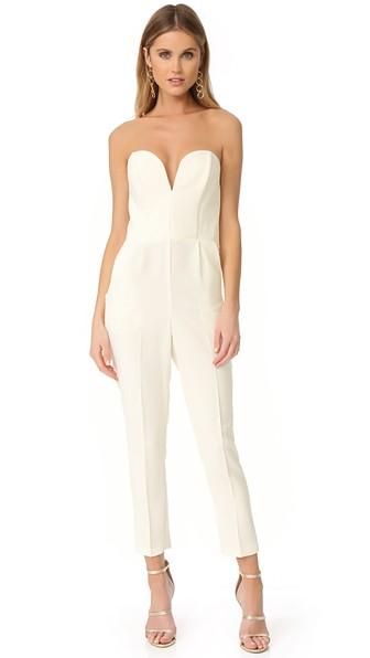 AMANDA UPRICHARD Cherri Strapless Jumpsuit in Ivory