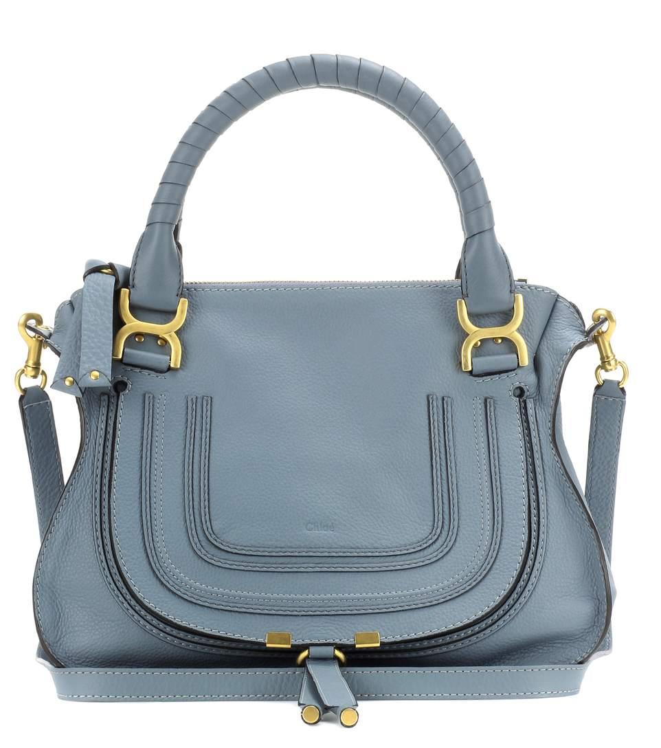 Marcie Medium Leather Shoulder Bag, Cloudy Llue