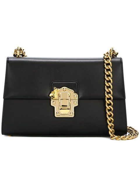 Dolce & Gabbana Lucia Medium Leather Shoulder Bag, Black