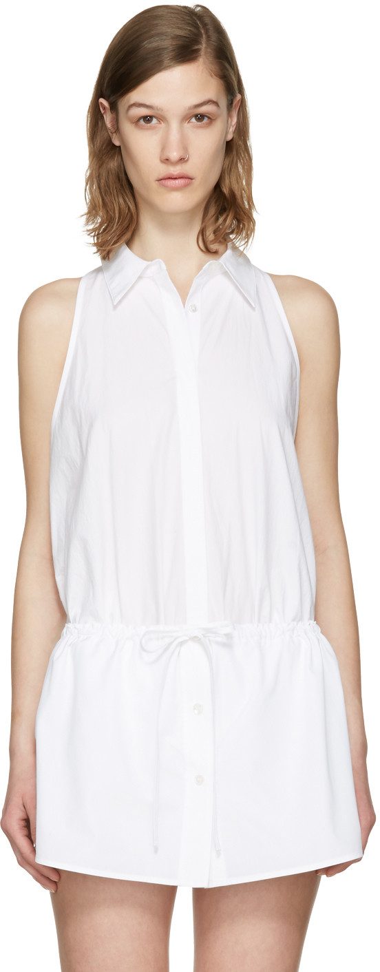 79d4137cd6 T By Alexander Wang Washed Cotton Poplin Sleeveless Bodysuit In White