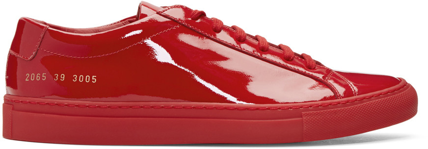 COMMON PROJECTS Red Achilles Low Gloss Sneakers