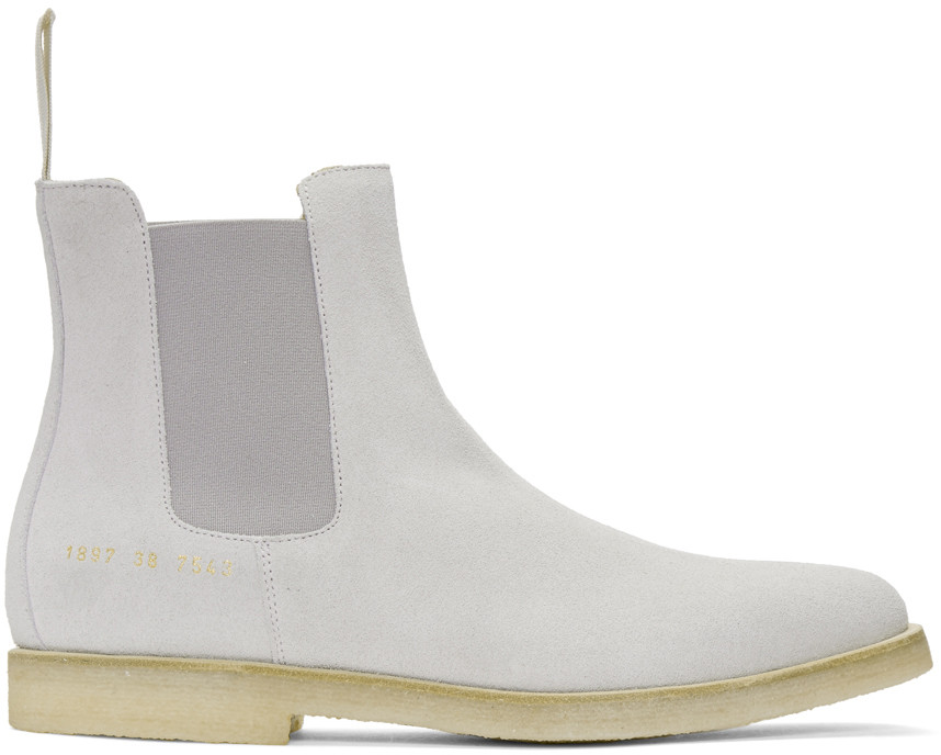 Common Projects Stone Brushed Suede Chelsea Boots, Grey