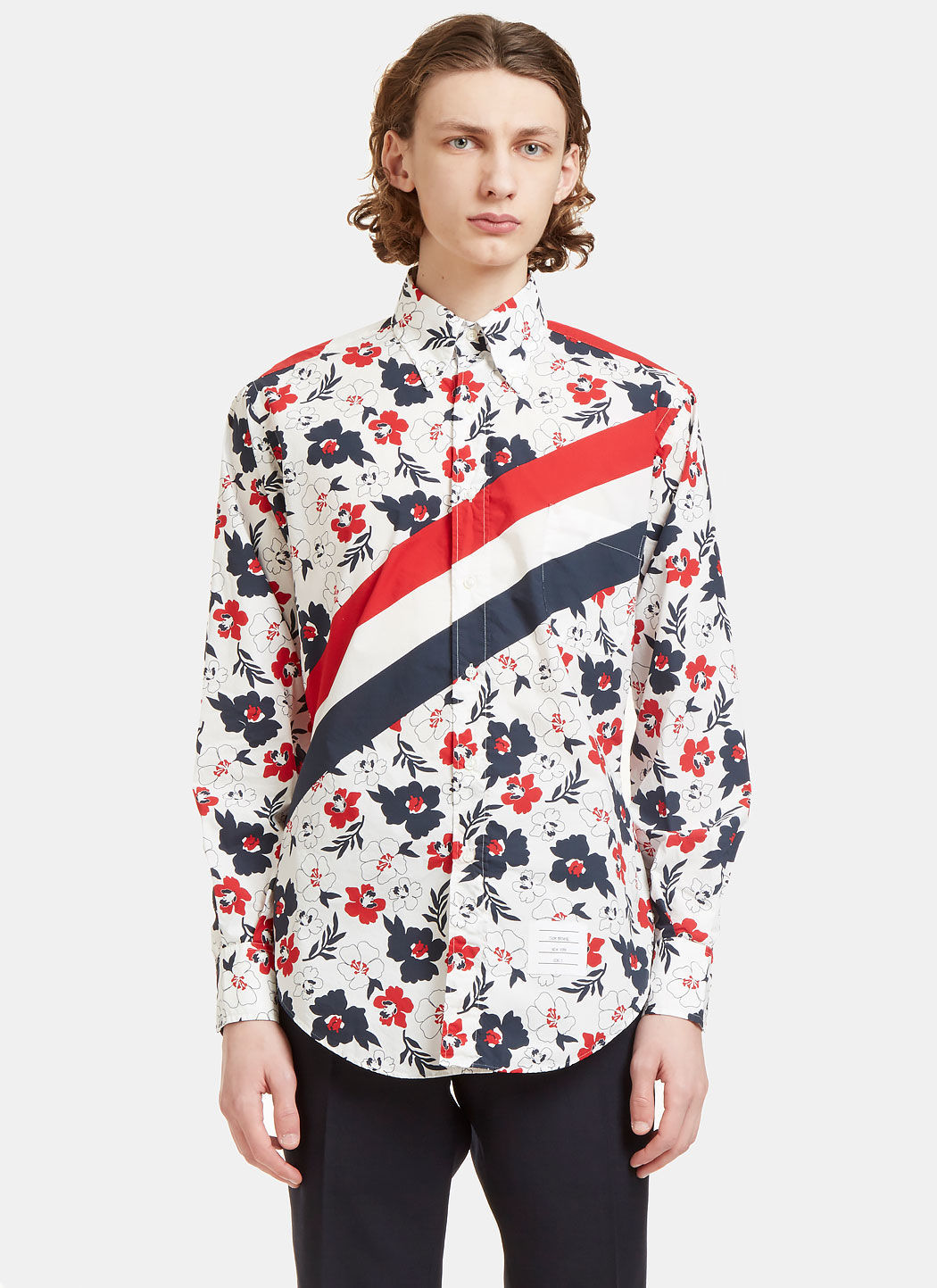 THOM BROWNE Floral And Stripe-Print Classic-Fit Cotton Shirt in Red Pattern