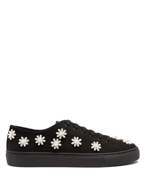 Floral-Embellished Canvas Low-Top Trainers, Black