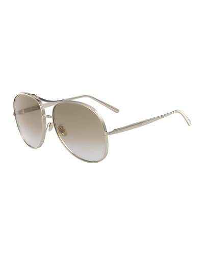 Nola Oversized Square Aviator Sunglasses, Gold/Light Brown