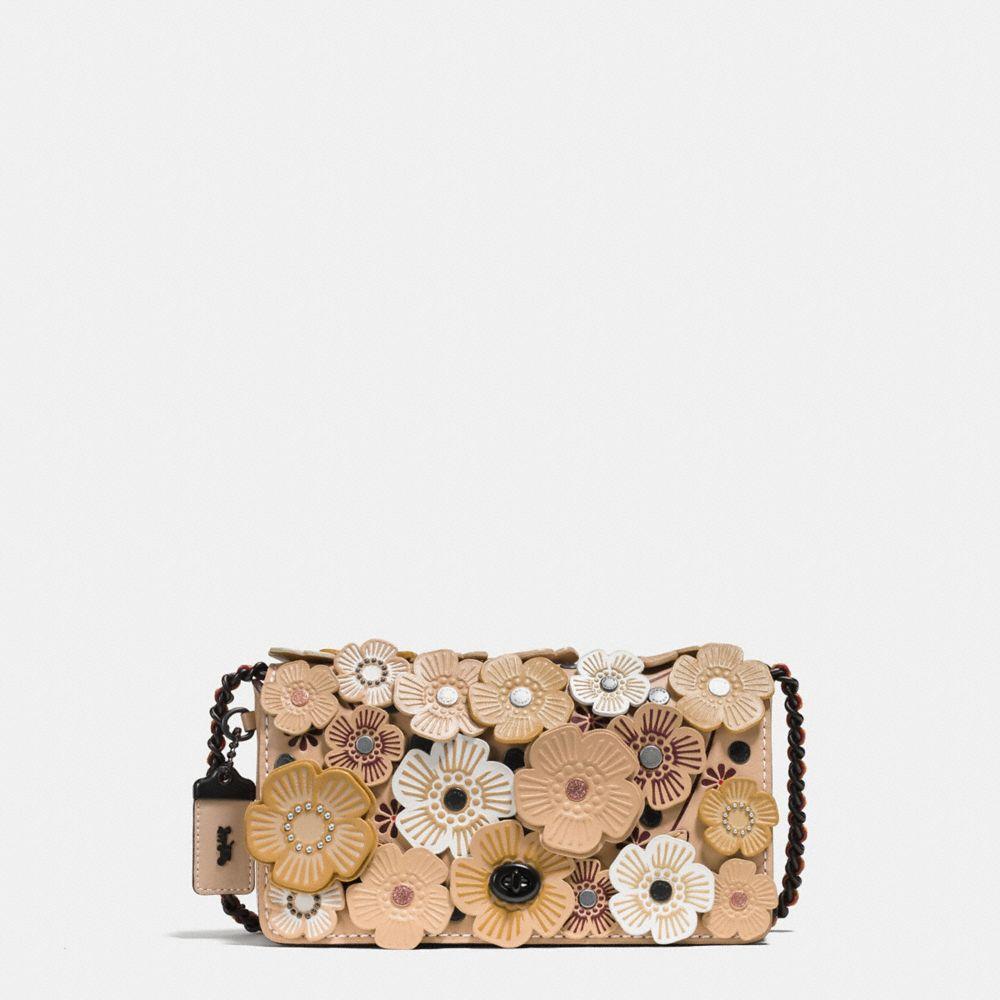 1941 Dinky Tea Rose-Applique Leather Crossbody Bag, Beechwood/Black Copper