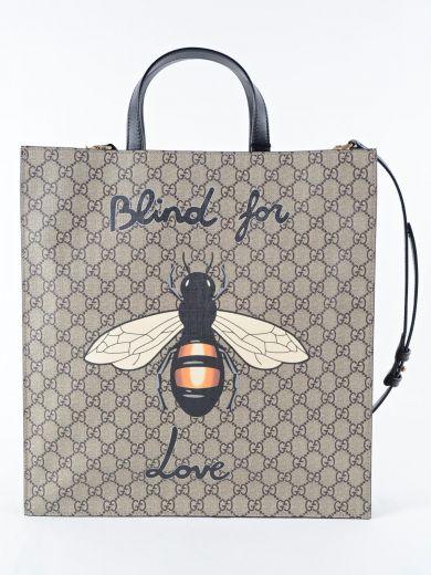 Bee Supreme Gg Tote Bag - Beige