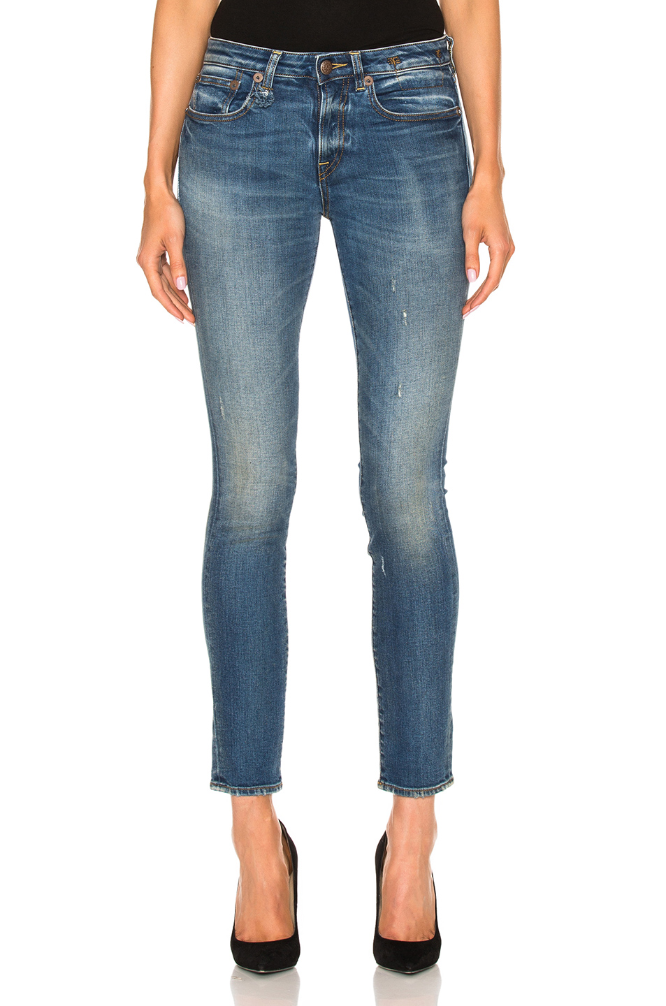 Woman Distressed Low-Rise Skinny Jeans Mid Denim in Blue