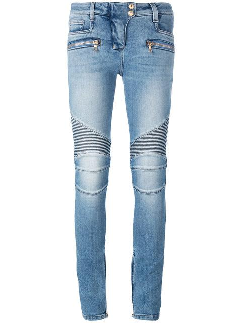 Woman Moto-Style Low-Rise Skinny Jeans Dark Denim in Blue