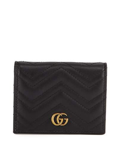Gg Marmont Quilted Leather Flap Card Case, Black Leather